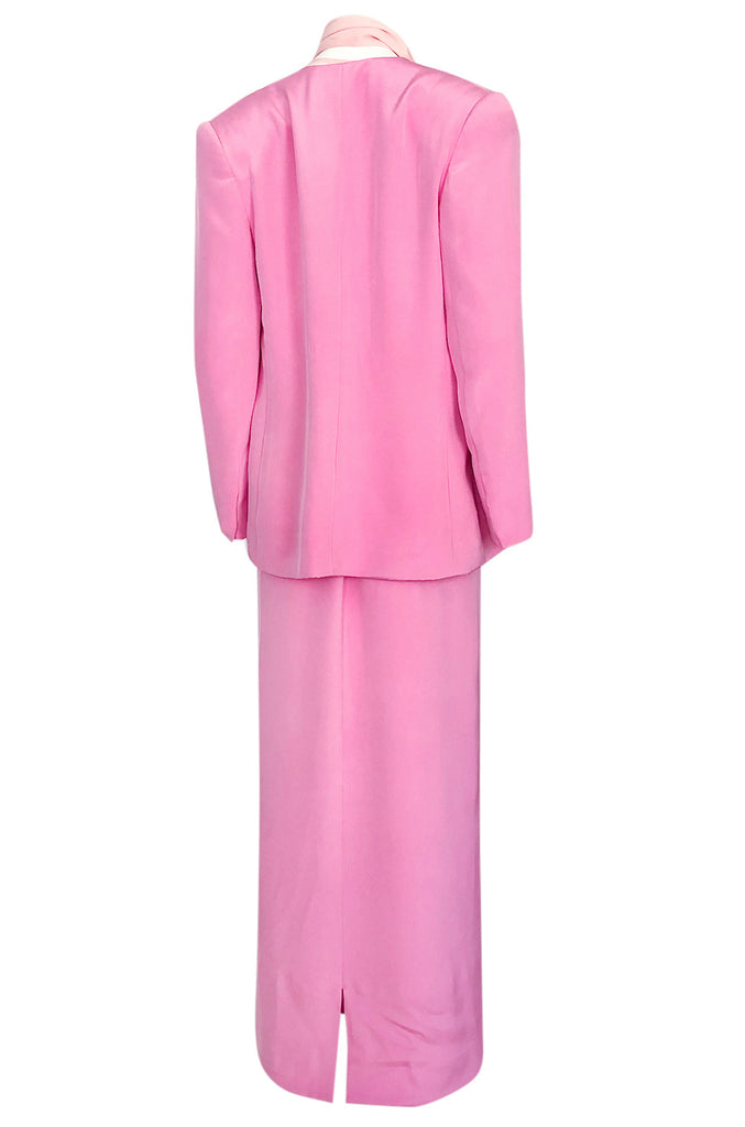 1980s Bill Blass Baby Pink Evening Jacket, Skirt & Silk Top Dress Suit