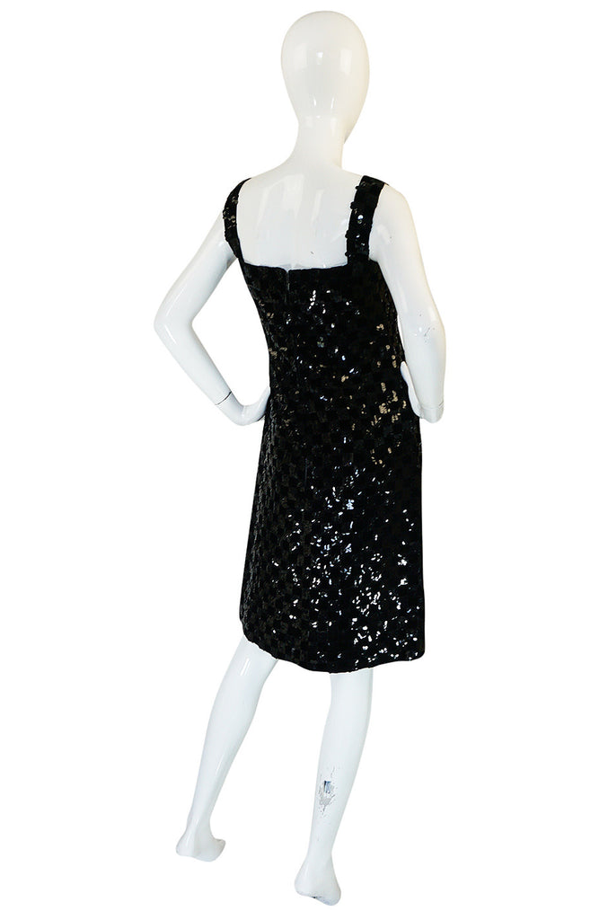 1960s Sequin & Velvet Checked Black Malcolm Starr Dress