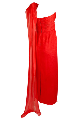 1970s Rose Taft Grecian Inspired Red Chiffon One Shoulder Dress