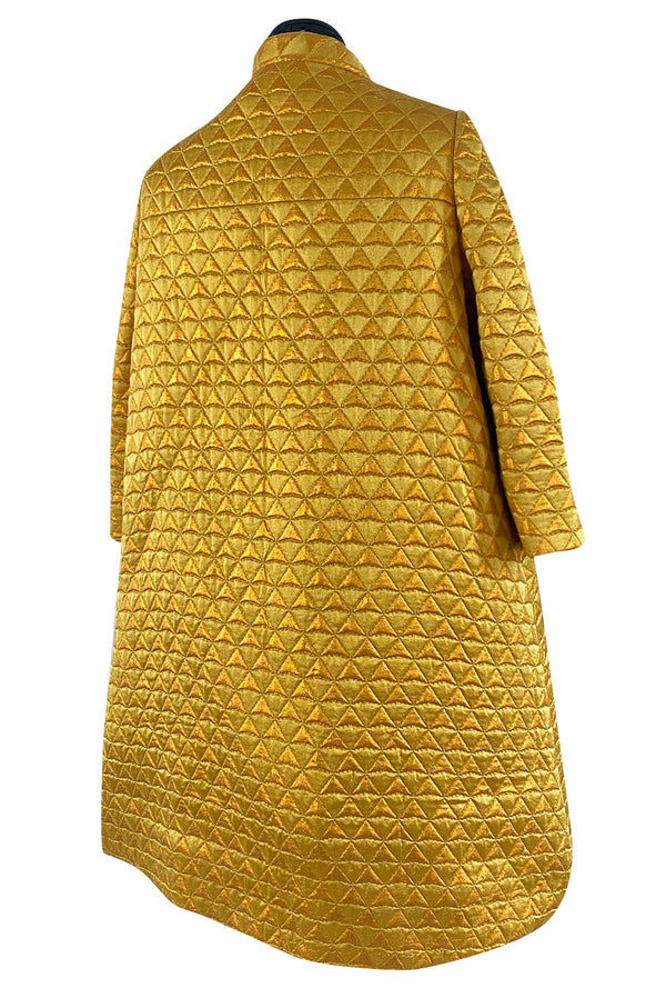 Stunning 1960s George Halley Bright Gold Metallic Puffed Quilted Silk Brocade Tent Coat
