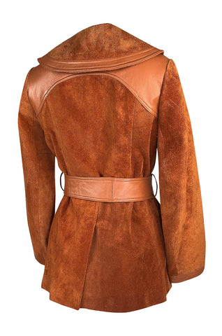 1970s Giorgio Sant'Angelo Orange Colored Suede & Leather Jacket