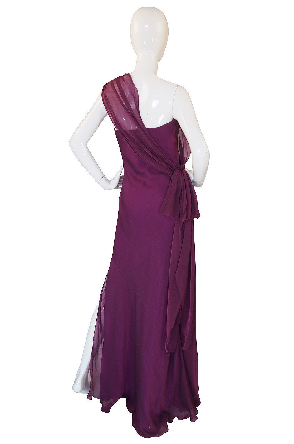 1990s Ben de Lisi One Shoulder Aubergine Silk Chiffon Dress ...