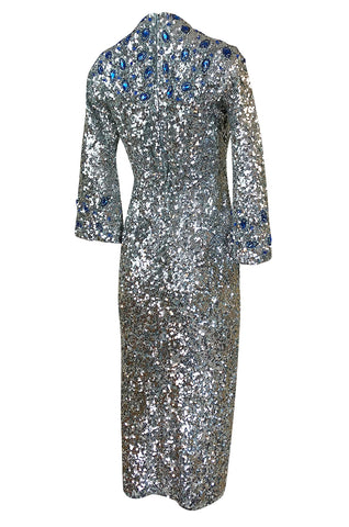 c.1967 Gene Shelly Blue Crystal & Silver Sequin Stretch Knit Dress