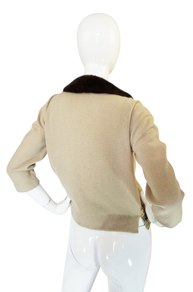 1950s Cafe au Lait Mink & Embroidered Ribbon Sweater