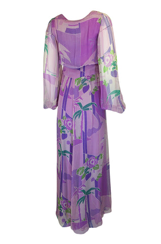 1970s George Stavropoulos Couture Floral Print Purple Silk Chiffon Maxi Dress