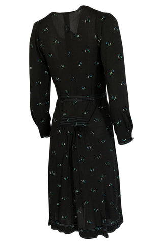 1970s Jean Muir Printed Jersey Dress w Incredible Art Deco Buttons