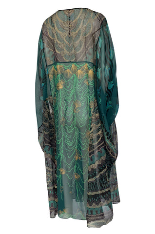 1980s Zandra Rhodes Hand Painted Shell & Floral Green Silk Caftan Dress