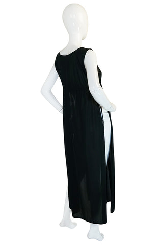 1970s John Kloss Black Nylon Tabard Open Side Dress