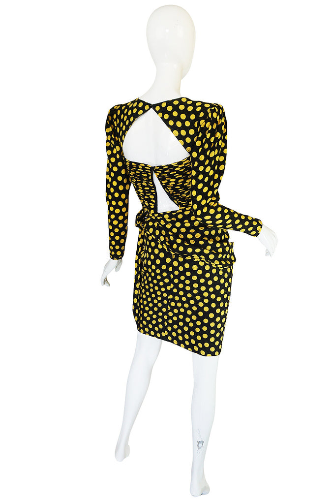 1980s Joan Rivers Owned Ungaro Silk Dot Dress