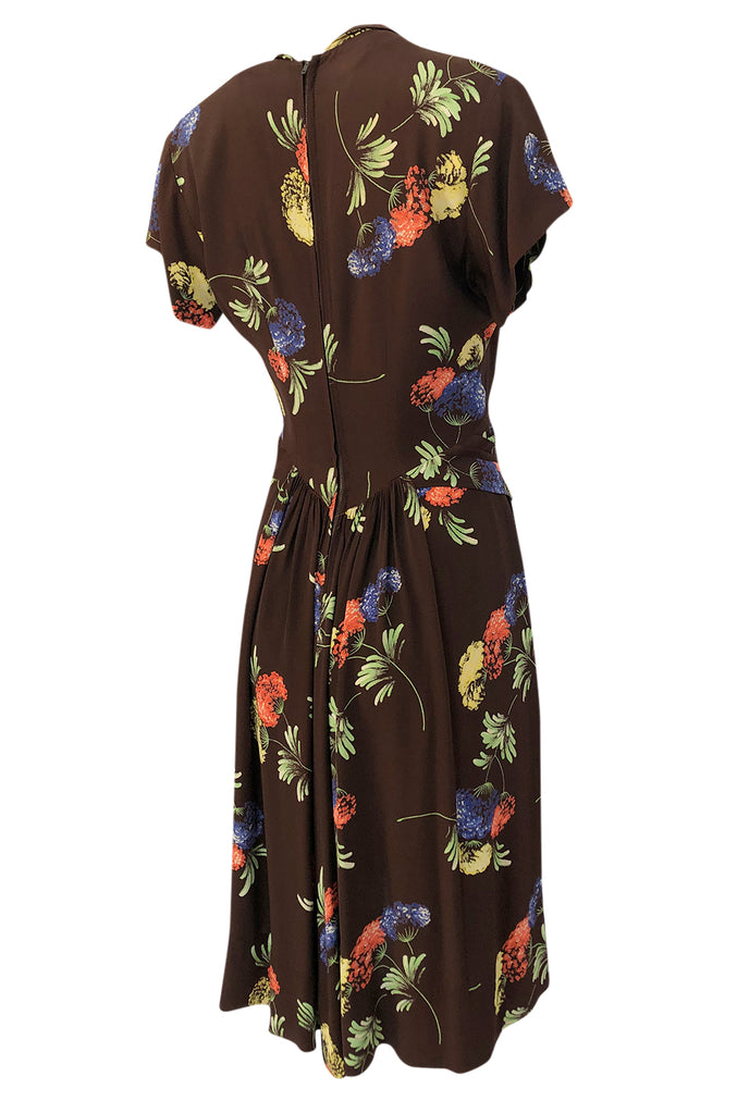 1940s Unlabeled Spectacular Floral Printed Brown Silk Swing Dress