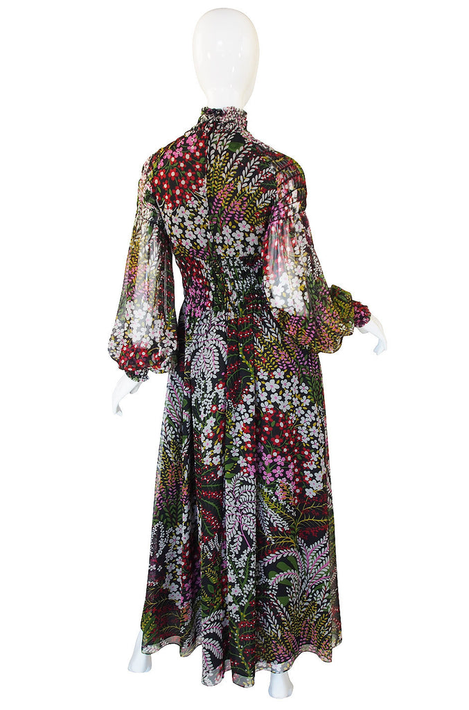 1970s Scott Barrie Silk Ruched Maxi Dress