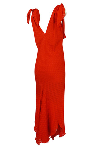 Late 1970s-1980s  Janice Wainwright Red Dotted Silk Bias Cut Dress