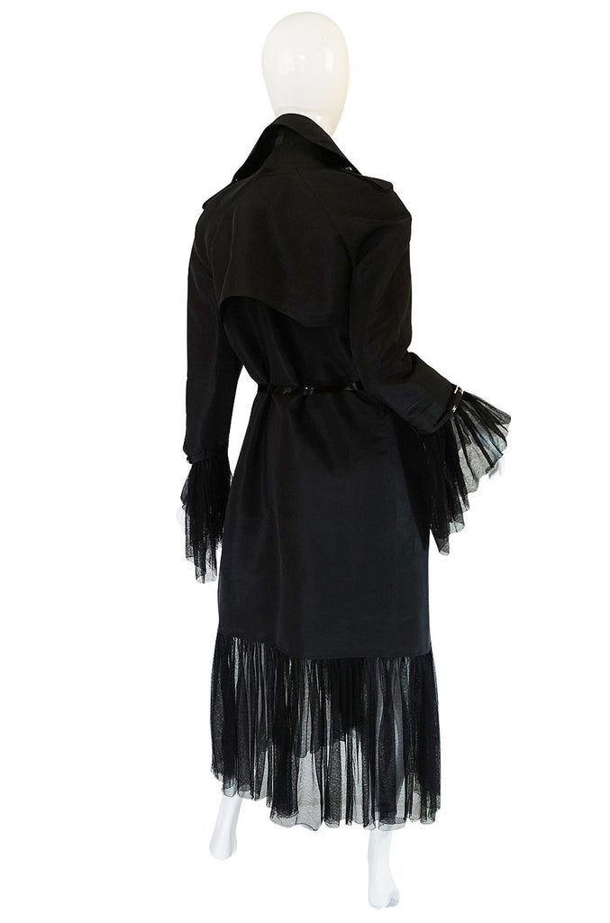 2006A Chanel Black Silk Tulle Edged Trench Coat
