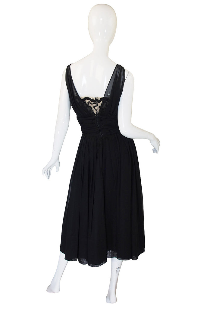 1950s Black Chiffon Grecian Cocktail Dress
