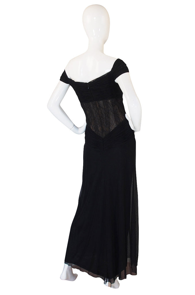 1980s Vicky Tiel Couture Black Silk Net & Lace Corset Gown