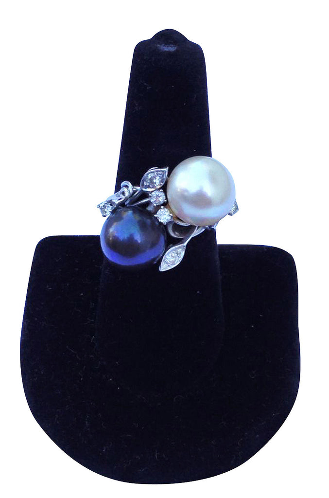 1950s Gold South Sea Pearl Diamond Ring