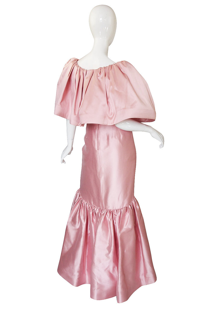 Now On Sale - 1980s Caped Pink Silk Oscar De La Renta Gown