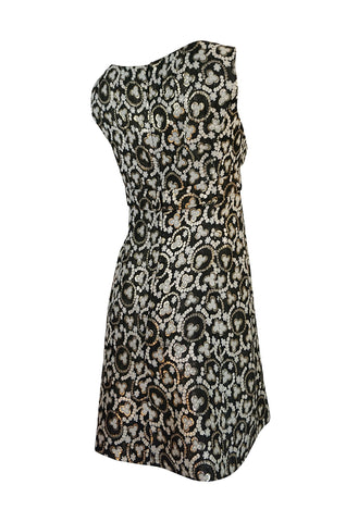 1960s Unlabelled Metallic Gold Thread Print Mod Shift Dress