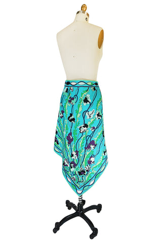 1960s Larger Cotton Turquoise Print Emilio Pucci Skirt