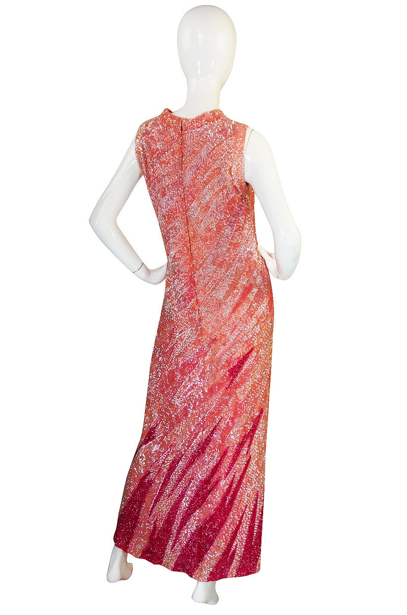 1950s Hand Sequinned Harry Algo Pink Flame Gown