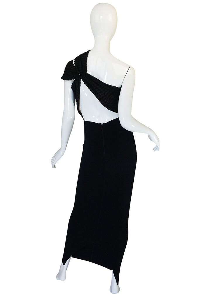 Important 1988-89 Azzedine Alaia Black One Shoulder Dress