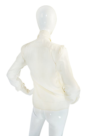 1970s Yves Saint Laurent Cream Silk Tie Neck Top