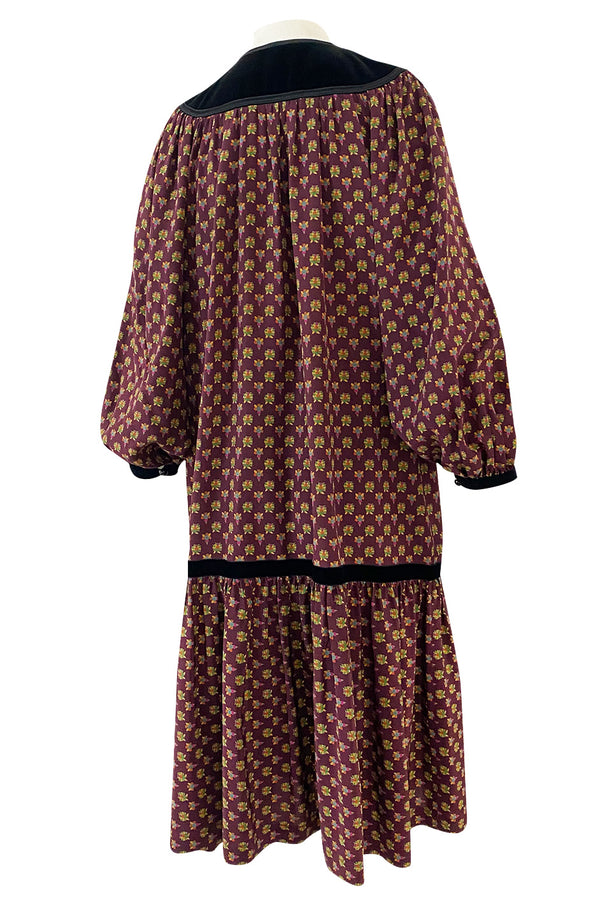 Fall 1977 Yves Saint Laurent Pretty Floral Printed Silk Smock Dress w Velvet Detailing
