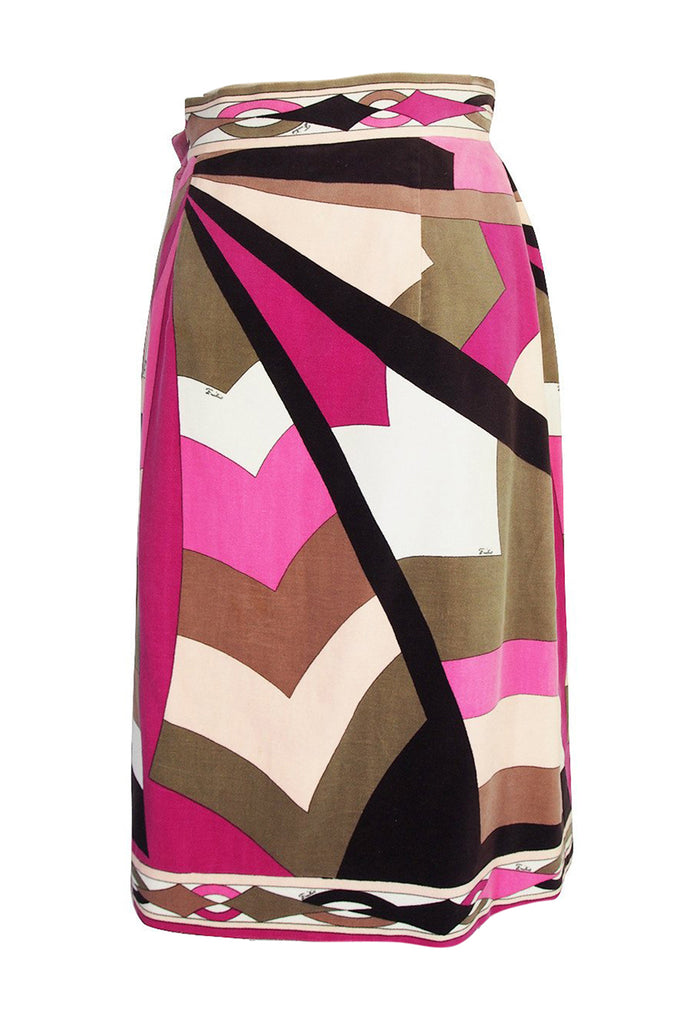1960s Emilio Pucci Pink & Taupe Geometric Print Velvet Skirt