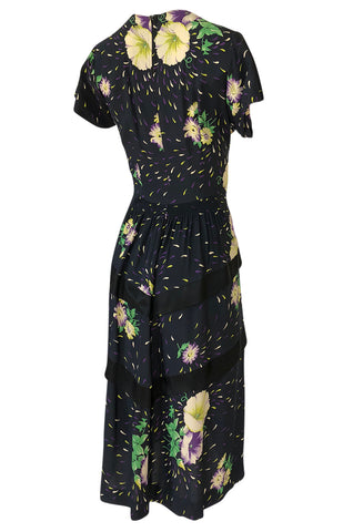 1940s Unlabelled Hand Painted Floral Print Silky Rayon & Net Dress