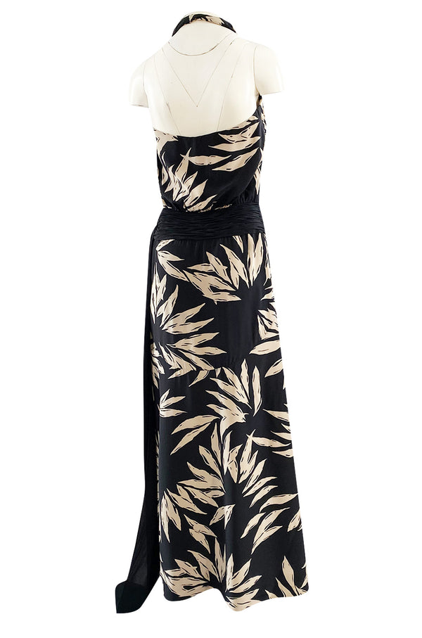Gorgeous 1980s Valentino Haute Couture Black & Ivory Silk Print Plunging Halter Dress