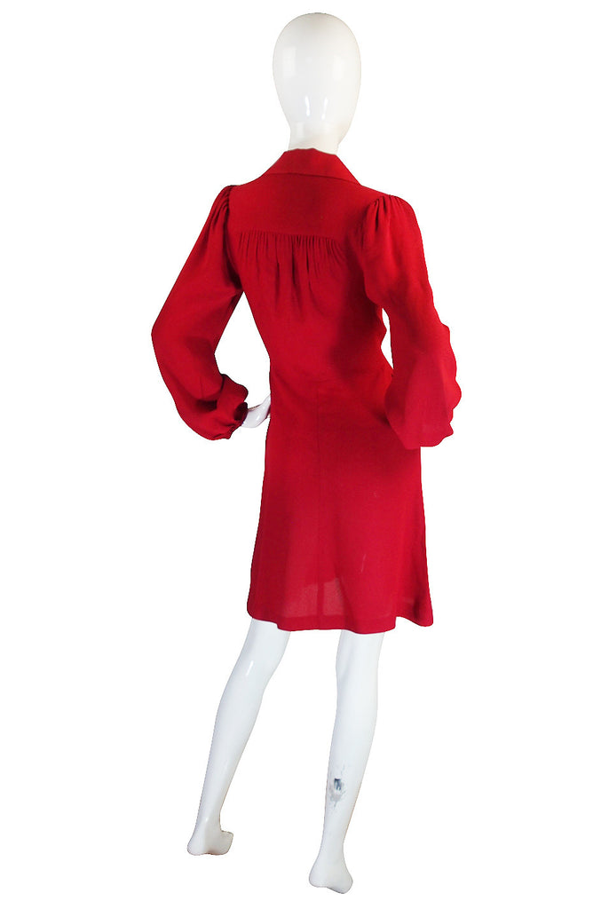 1970s Red Moss Crepe Ossie Clark Mini Dress