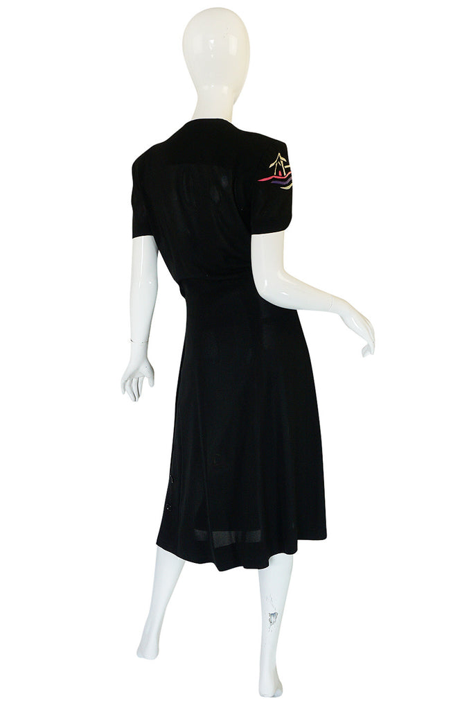 1940s Inset Scenes Eisenberg & Sons Originals Button Swing Dress