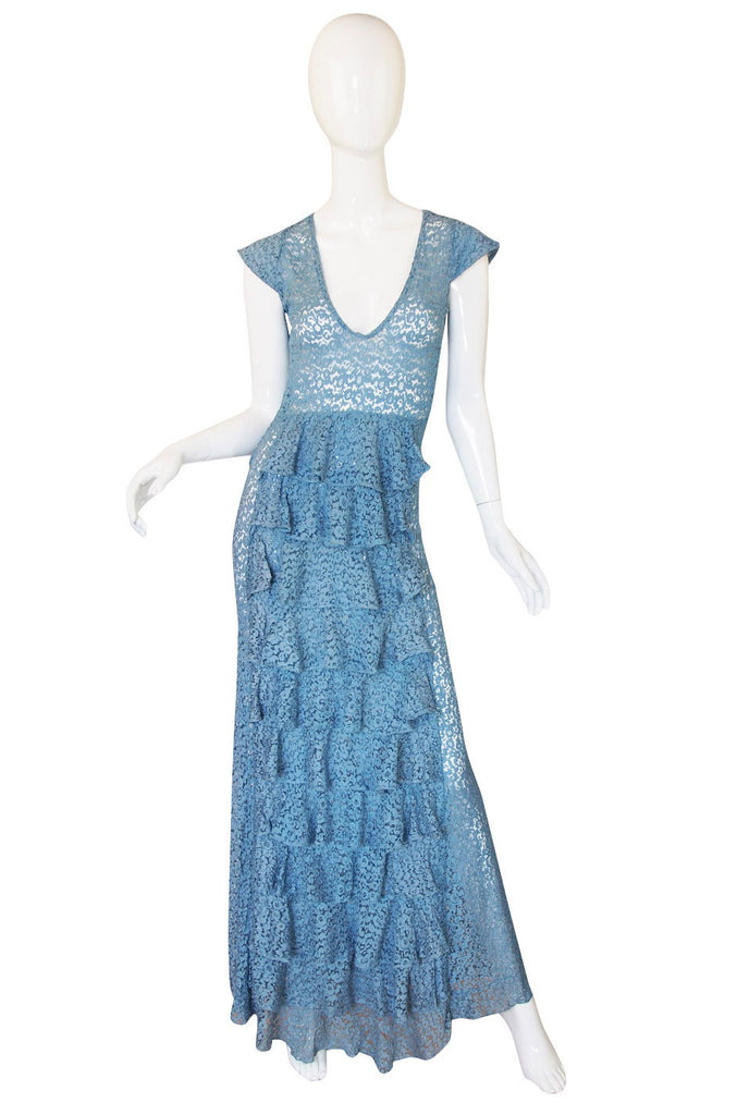 1930s Pale Blue Lace Ruffle Gown