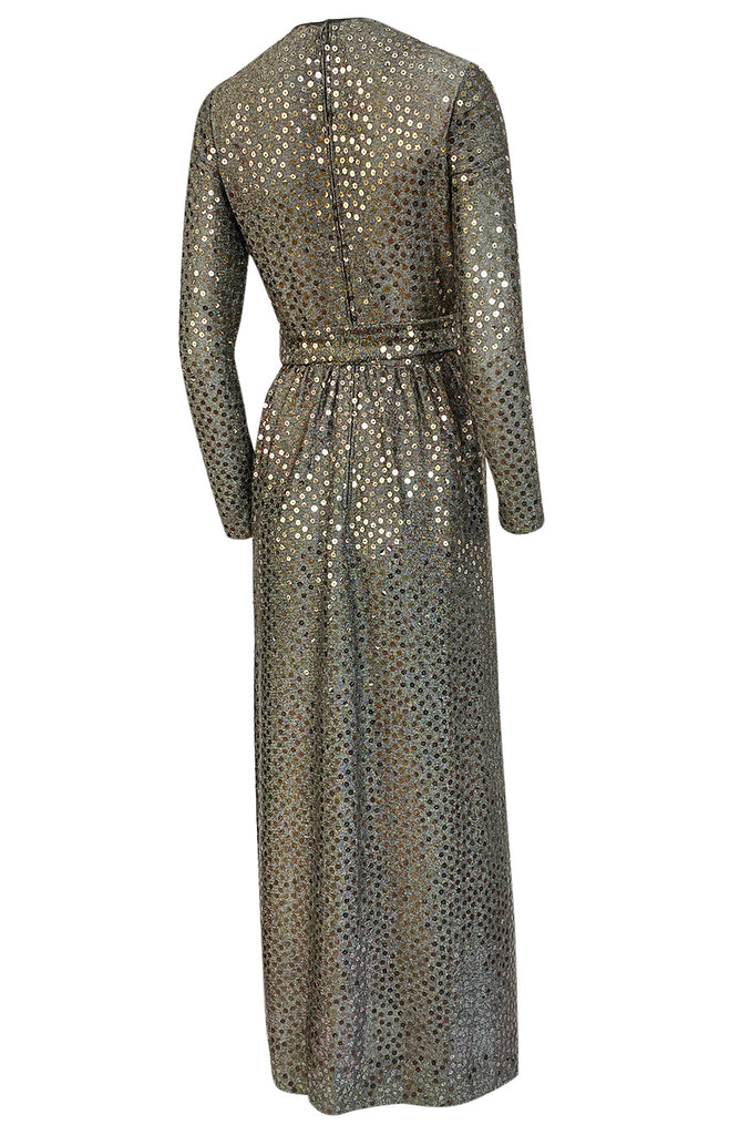 1970s Mollie Parnis Silver Sequin & Knit Lame Jersey Dress w Belt