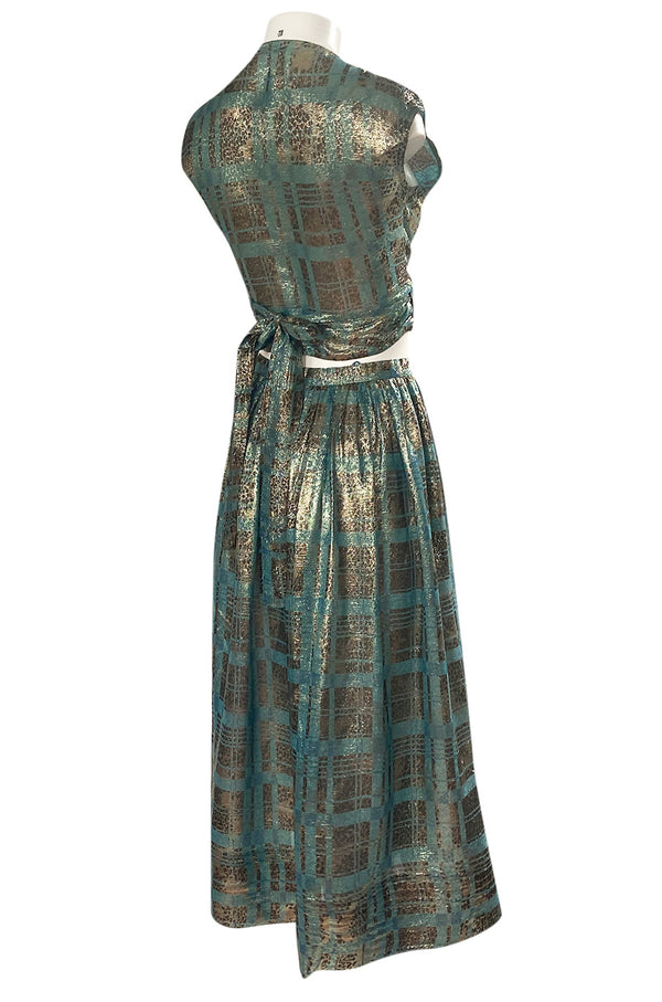 1980s Geoffrey Beene Gold & Turquoise Silk Lame Metallic Skirt & Top Set