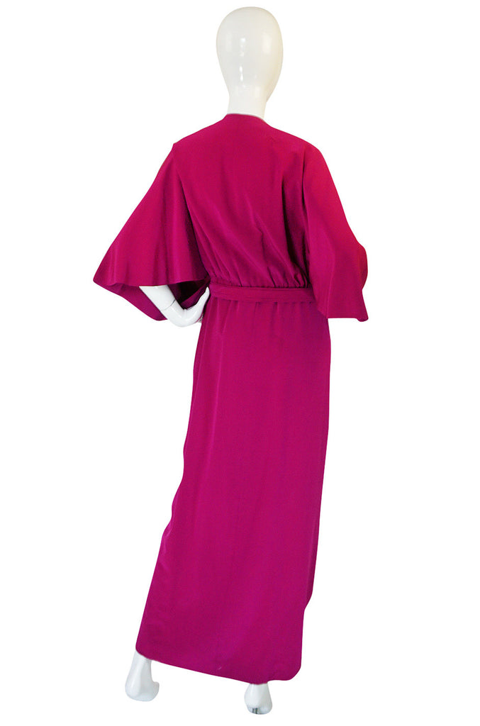 1960s Jean Patou Numbered Haute Couture Draped Silk Dress