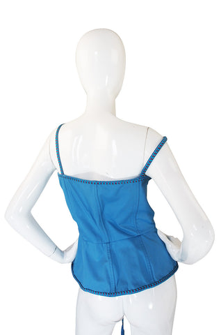 Rare 1970s Yves Saint Laurent Blue Safari Corset Top