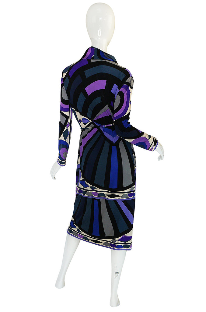 1960s Purple Print Pucci Silk Jersey Dress w Crystal Belt