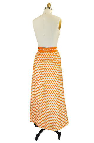 1960s Unusual 3D Dotted Orange Yarn Maxi Skirt