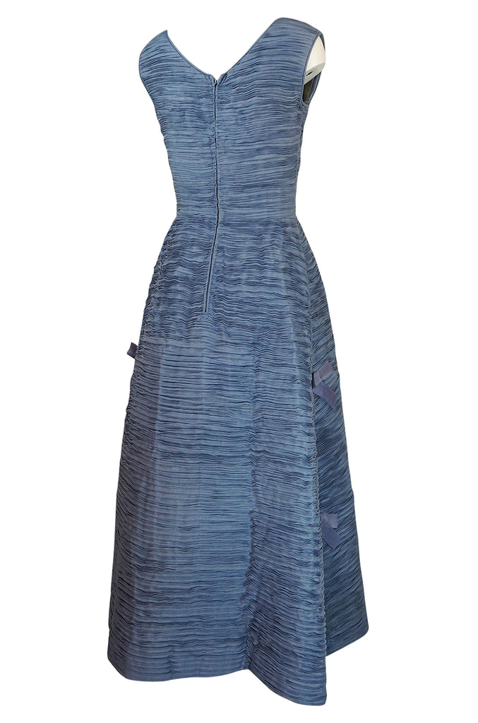 c.1965 Sybil Connolly Couture Bow Detailed Blue Pleated Irish Linen Dress