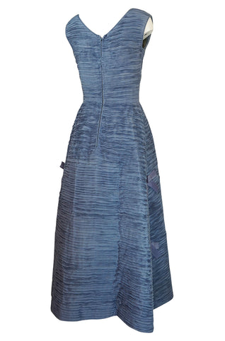c.1965 Sybil Connolly Couture Hand Pleated Irish Linen Dress