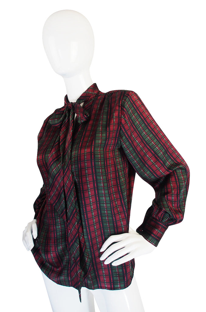 1970s Plaid Yves Saint Laurent Silk Top