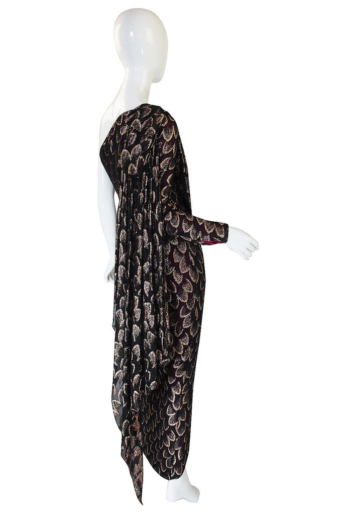 1970s Metallic Chiffon Gown with Pink Lining