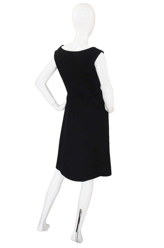 1960s Norman Norell Structured Black Dress