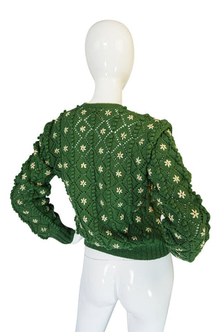 Rare 1930s Lanz Hand Knit Green Nubby Floral Sweater