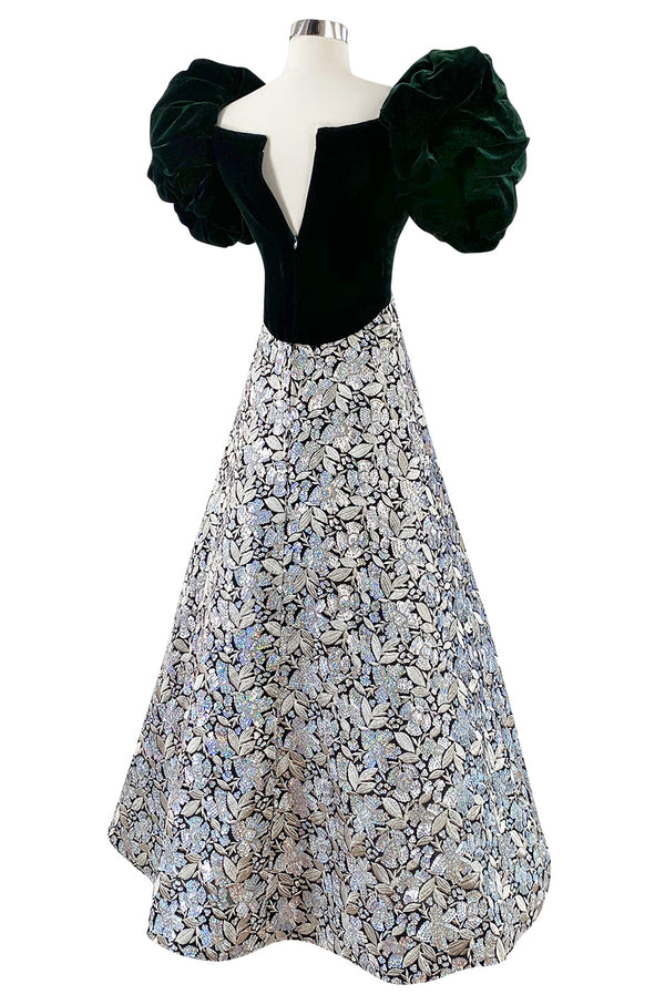 c.1992 Arnold Scaasi Couture Deep Green Velvet & Embroidered Silver Thread & Sequin Dress