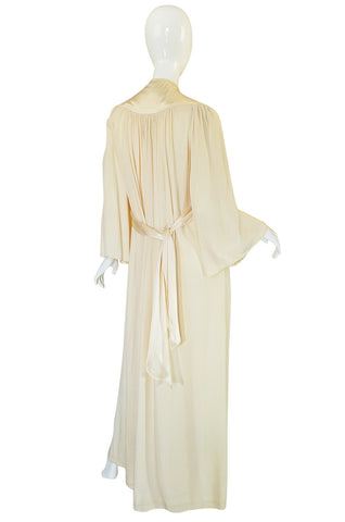 Rare 1960s Ossie Clark Cream Fortuny Pleat Plunge Dress