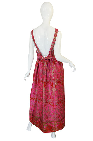 Unusual 1960s Backless Pink & Gold Metallic Brocade Dress