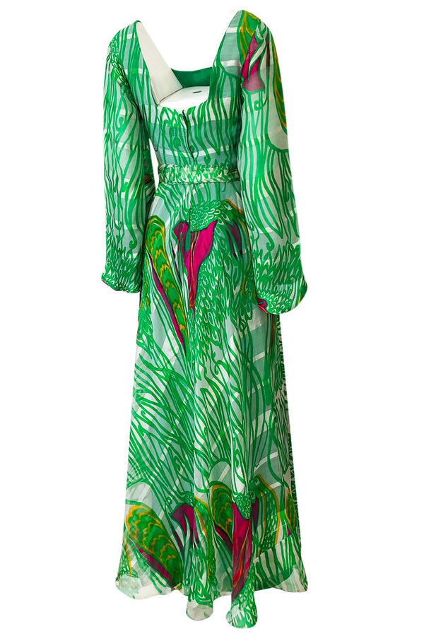 1970s Brilliant Green w Bright Pink Accents Printed Ribbon Silk Chiffon Full Length Maxi Dress