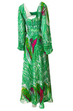 1970s Printed Green & Pink Fine Indian Silk Chiffon Full Length Maxi Dress